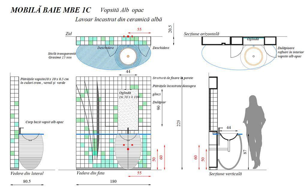 Mobilier baie din lemn MBE1C,Mobilier baie