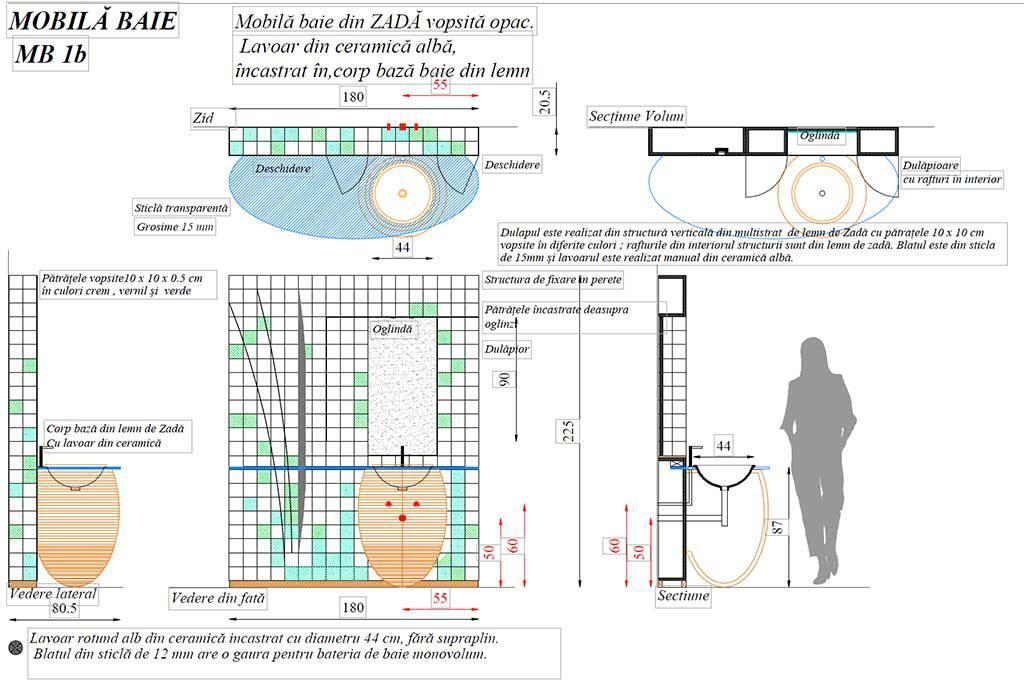 Mobilier baie din lemn MBE1B,Mobilier baie