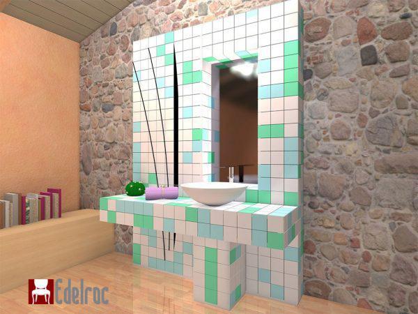 Mobilier baie din lemn MBE1D