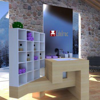 Mobilier baie din lemn MBE3