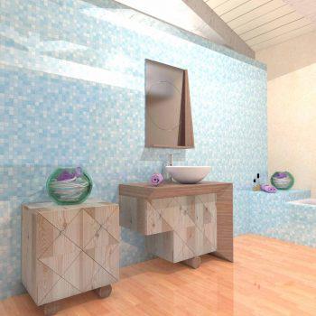 Mobilier baie din lemn MBE60