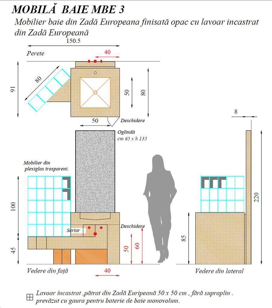 Mobilier baie din lemn MBE Mobilier baie, Set baie