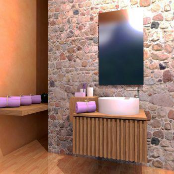Mobilier baie din lemn MBE9